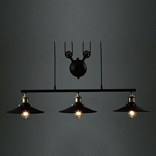 Industrial Vintage Retro Linear Chandelier - LITFAD 35'' Wide Edison Metal Hanging Ceiling Light