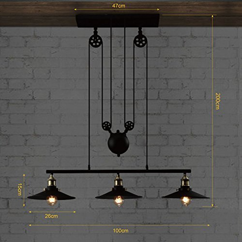 Industrial Vintage Retro Linear Chandelier - Edison Metal Hanging Ceiling Light dimensions