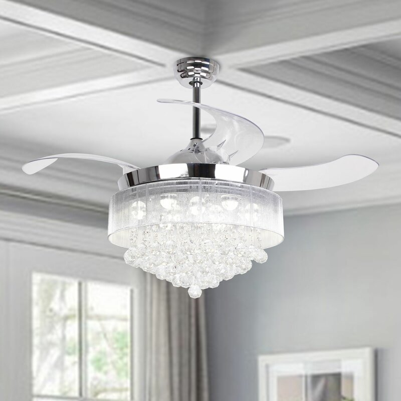 "House of Hampton 46"" Broxburne 4 Blade LED Ceiling Fan with Remote"